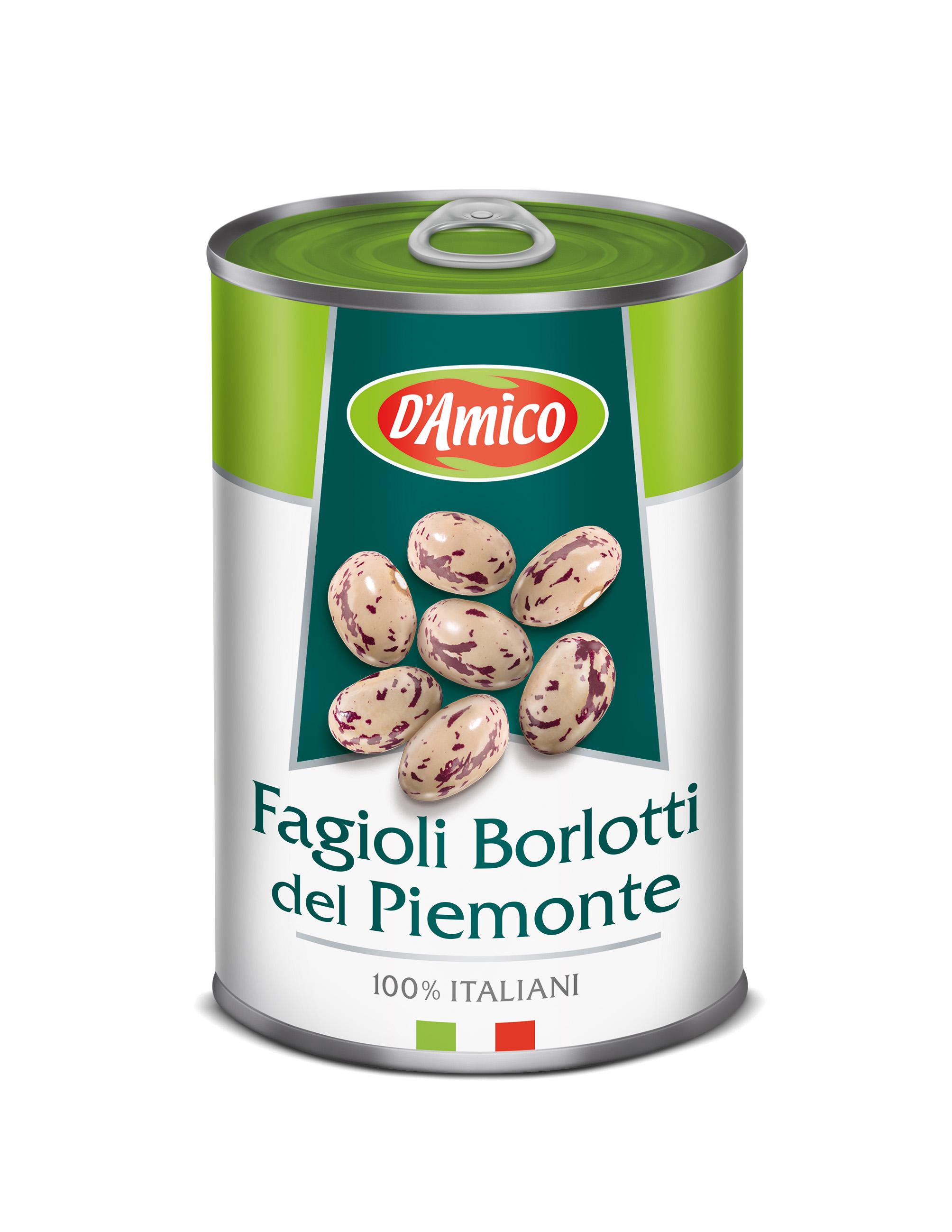 Boabe de fasole fierte tip Borlotti D`Amico 400 g