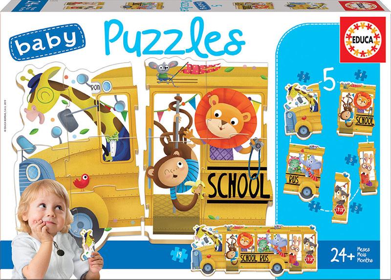Set de 5 puzzle-uri progresive - Autobuzul animalelor (2-5 piese) imagine edituradiana.ro