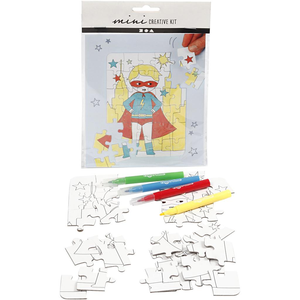 Set puzzle de colorat cu 30 de piese și 4 carioci colorate - Supererou imagine edituradiana.ro