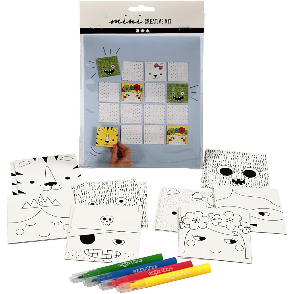Set joc de memorie cu 16 piese din carton și 4 carioci colorate imagine edituradiana.ro