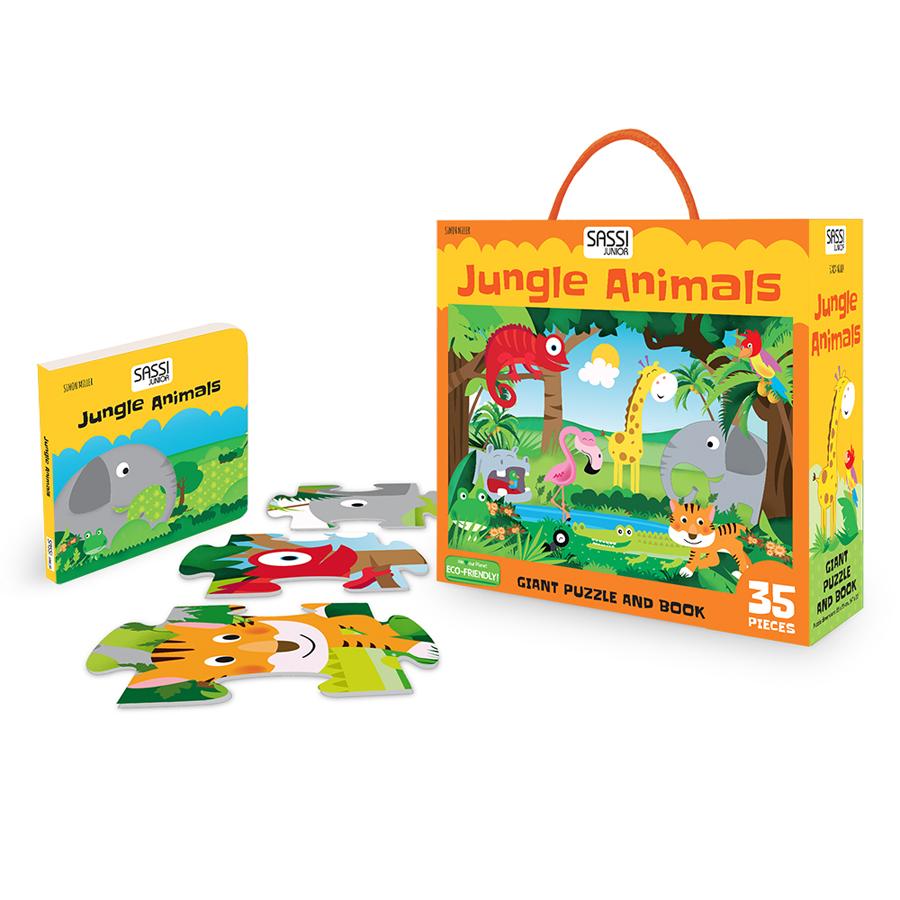 Animale din junglă - Puzzle uriaș și carte imagine edituradiana.ro