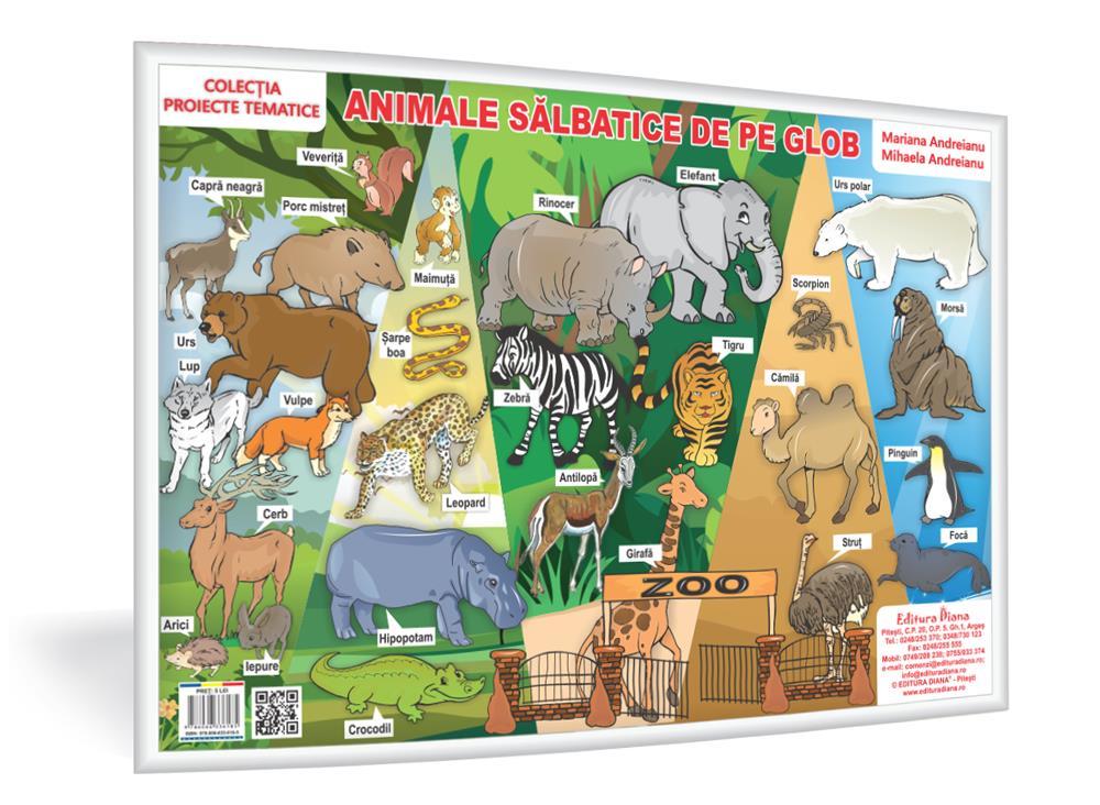 Animale sălbatice de pe glob - planșă A3 - Proiecte Tematice