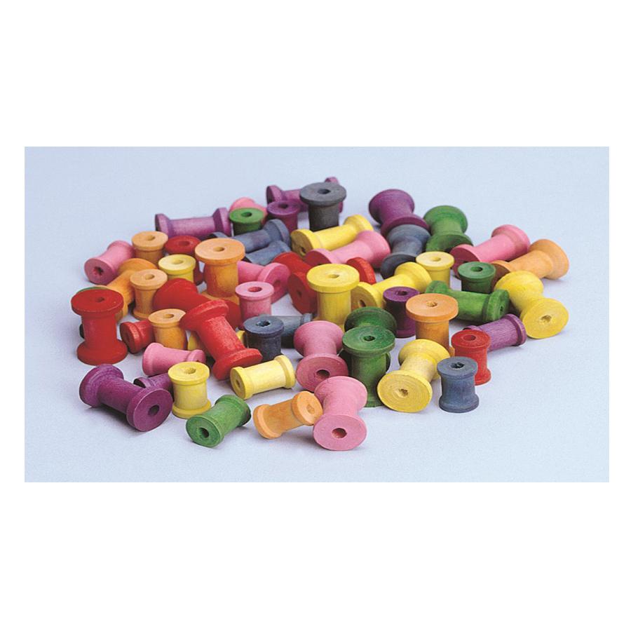 Bobine colorate din lemn - 50 buc imagine edituradiana.ro