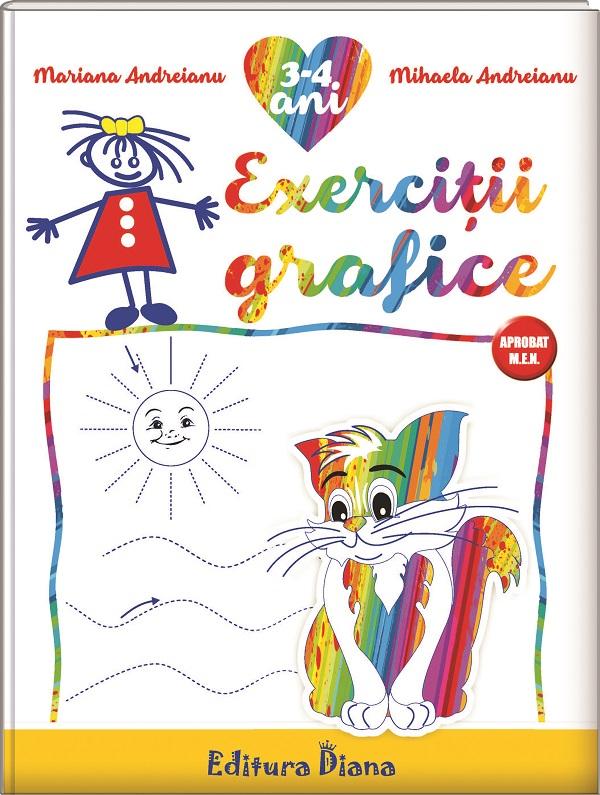 Caiet de exerciții grafice 3-4 ani (B5) imagine edituradiana.ro