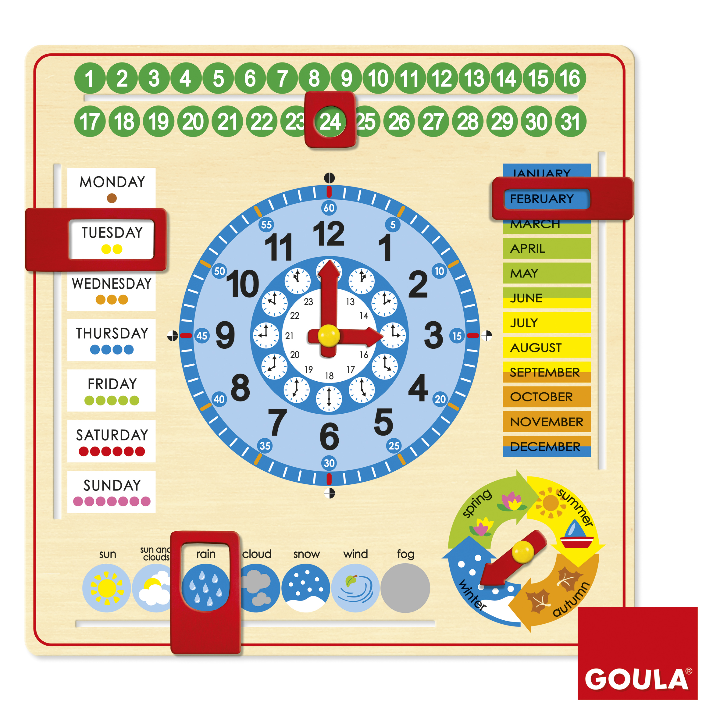 Calendar și ceas în limba engleză (format mare) imagine edituradiana.ro