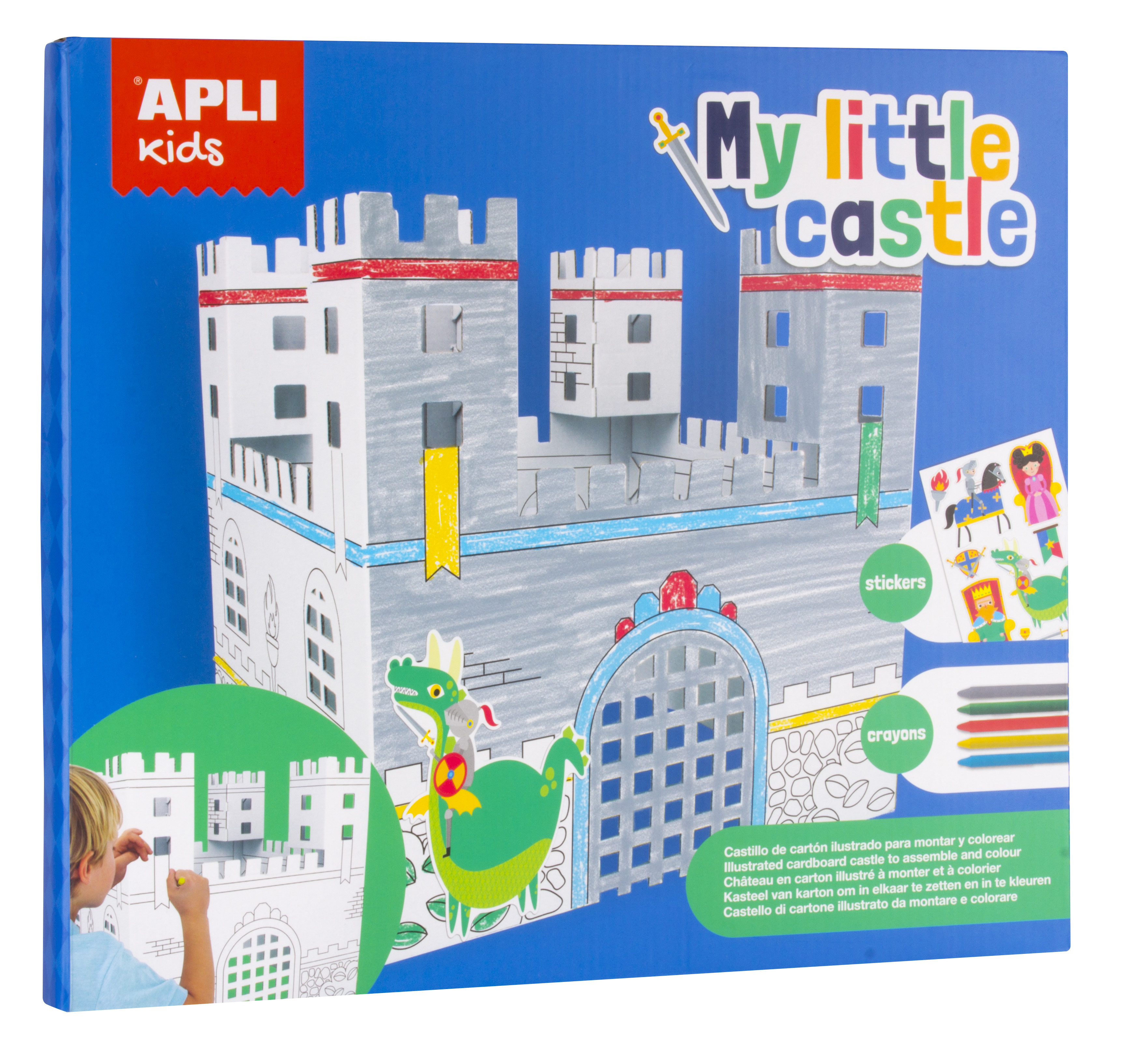 Castel din carton de asamblat și colorat cu 5 creioane colorate cerate și stickere
