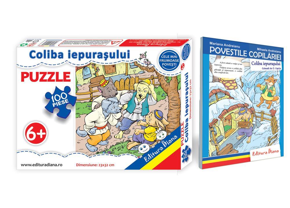 Coliba iepurașului - Set Puzzle + Carte tip acordeon imagine edituradiana.ro