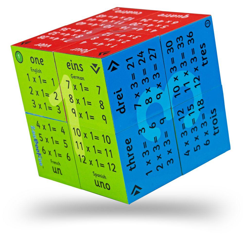Cub pliabil cu tabla înmulțirii de la 1 la 12 (în engleză, franceză, germană și spaniolă) imagine edituradiana.ro