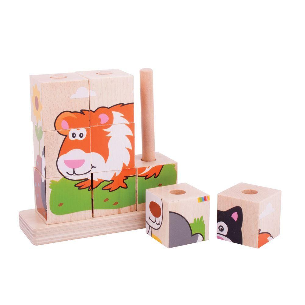 Puzzle din 9 cuburi stivuibile de lemn - Animale de companie imagine edituradiana.ro