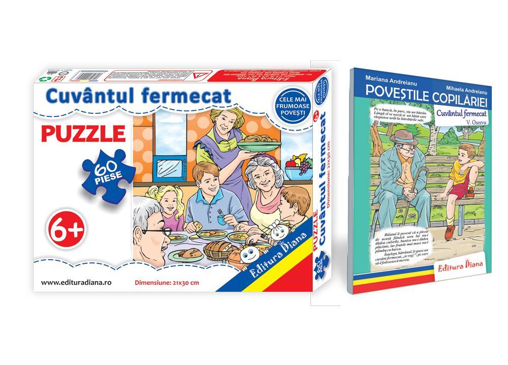 Cuvântul fermecat - Set Puzzle + Carte tip acordeon imagine edituradiana.ro