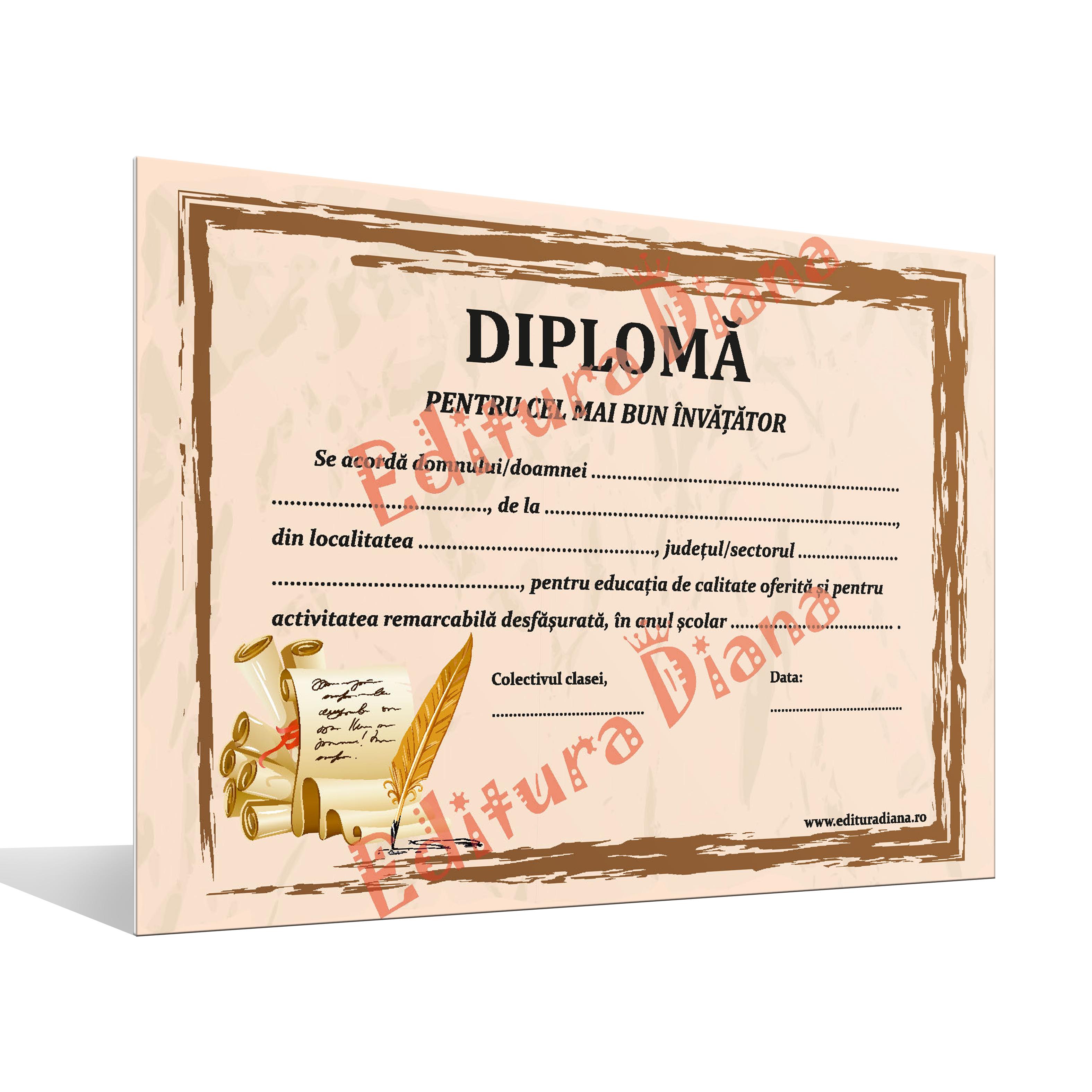 Diplomă pentru cel mai bun învățător imagine edituradiana.ro