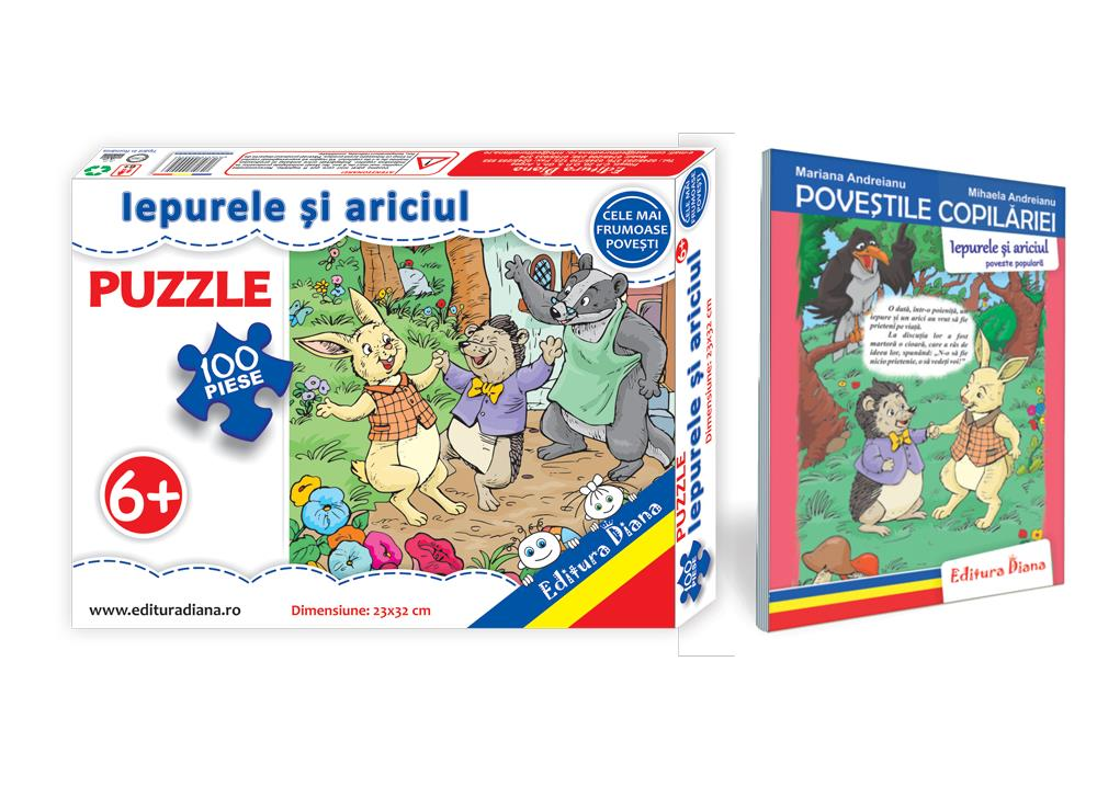 Iepurele și ariciul - Set Puzzle + Carte tip acordeon imagine edituradiana.ro