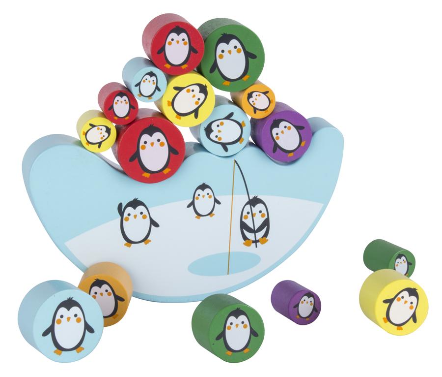 Joc de echilibrare din lemn: 16 pinguini, un iceberg și un zar colorat imagine edituradiana.ro