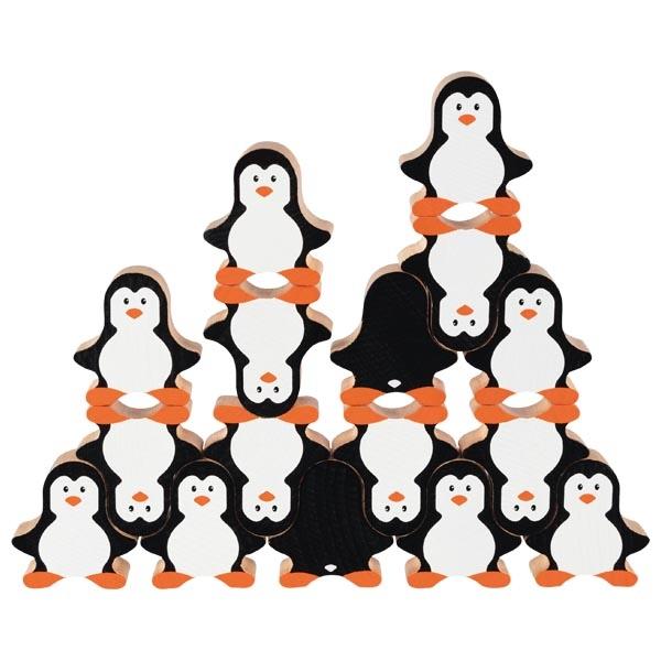 Joc de stivuire cu 18 pinguini din lemn imagine edituradiana.ro