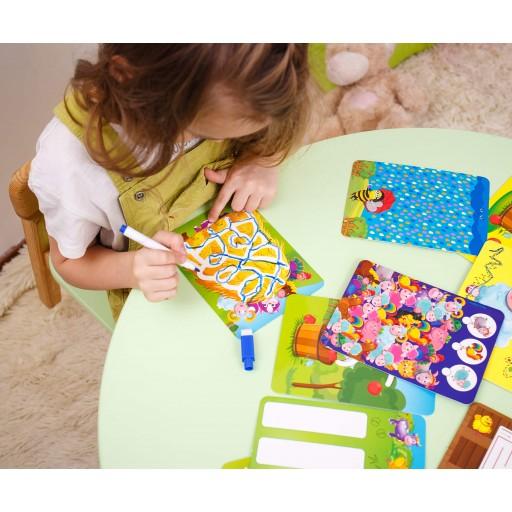 Joc educativ cu 32 de carduri și marker Scrie și șterge - La fermă imagine edituradiana.ro