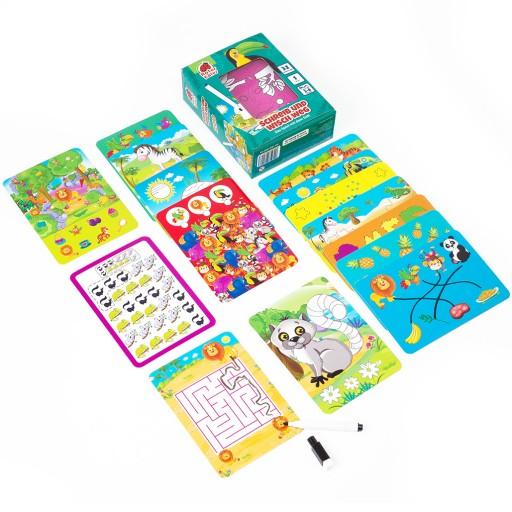 Joc educativ cu 32 de carduri și marker Scrie și șterge - La Zoo imagine edituradiana.ro