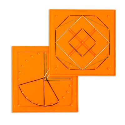 Joc Geoplan cu 6 tăblițe din plastic (15 cm),120 de elastice și 16 șabloane din plastic imagine edituradiana.ro