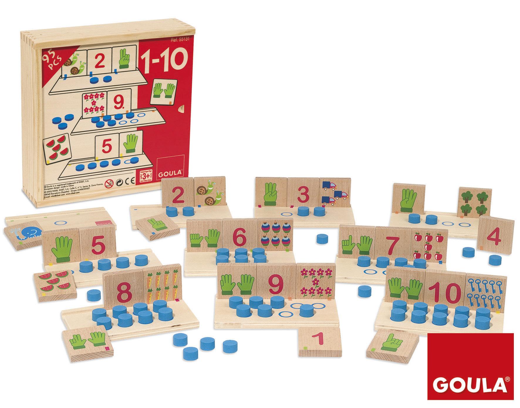 Joc matematic de asociere a numerelor de 1 la 10 cu 95 de piese din lemn imagine edituradiana.ro