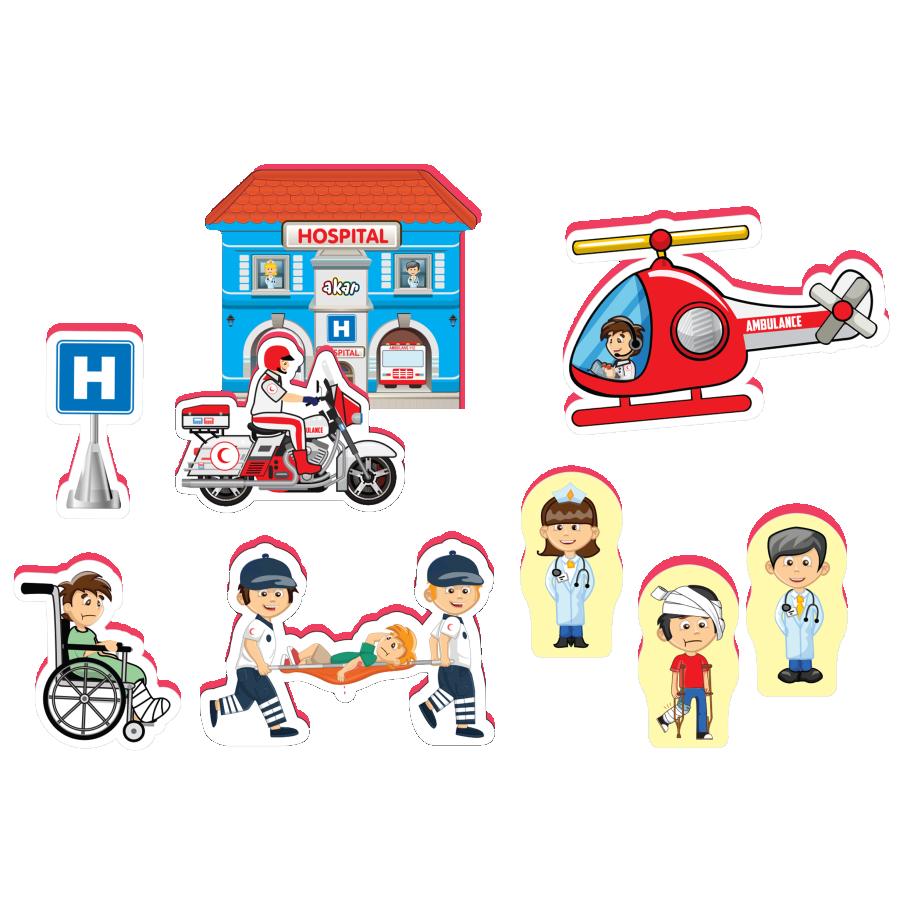Joc cu realitate augmentată - Spital (9 piese) imagine edituradiana.ro