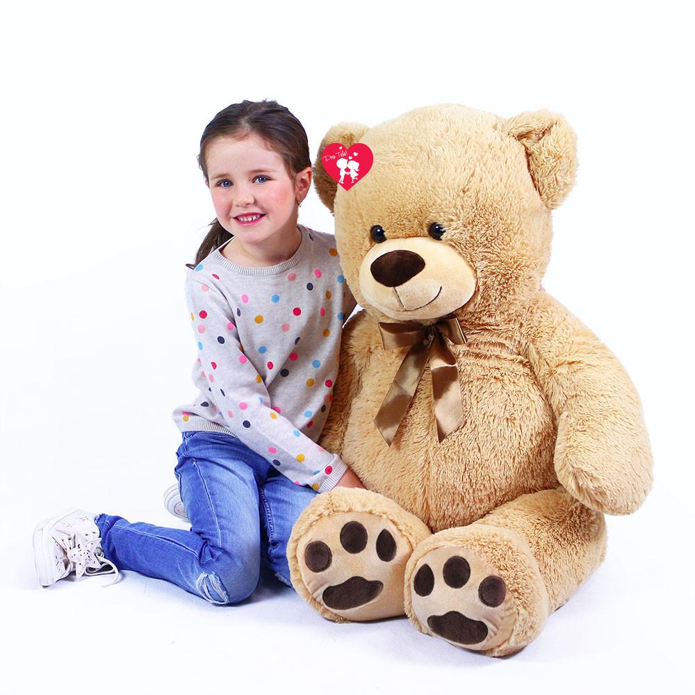Jucărie mare din pluș - Urs crem cu felicitare, 100 cm imagine edituradiana.ro