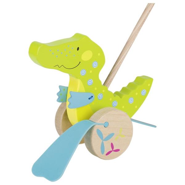Jucărie de împins din lemn - Crocodil imagine edituradiana.ro