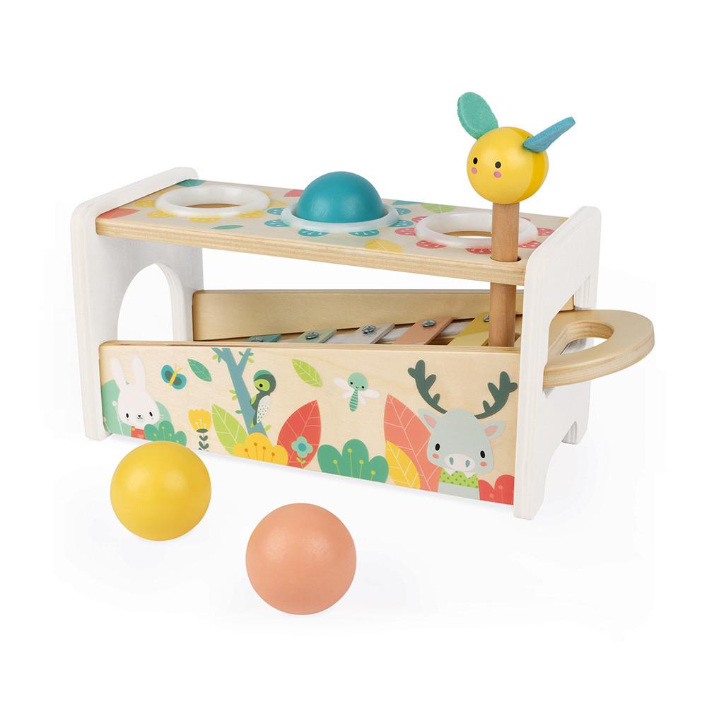 Jucărie din lemn - Xilofon detașabil, 3 bile și un ciocan imagine edituradiana.ro