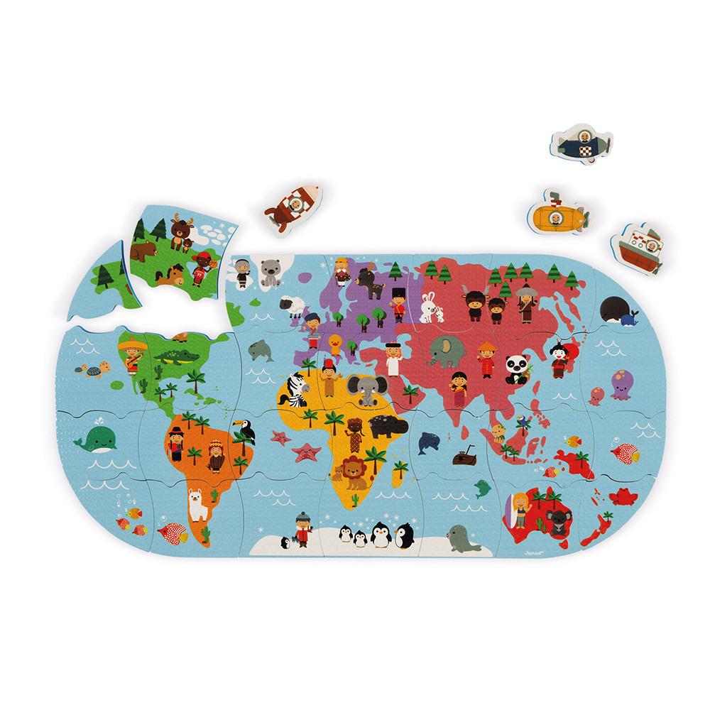Jucărie pentru baie - Puzzle Harta lumii cu 28 de piese și 4 vehicule din spumă imagine edituradiana.ro