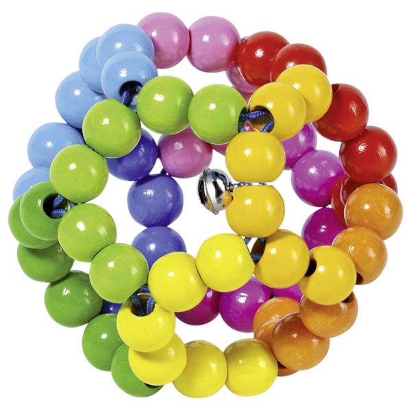 Jucărie tactilă elastică pentru bebeluși cu mărgele multicolore din lemn imagine edituradiana.ro