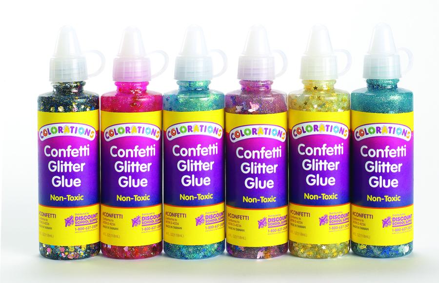 Lipici colorat cu sclipici și confeti - 6 buc - 120 ml imagine edituradiana.ro