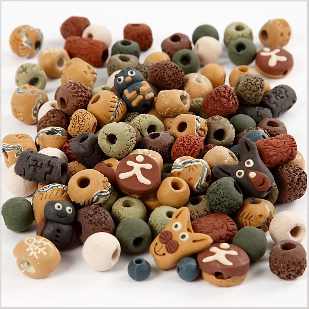 Mărgele de ceramică în culori rustice pentru înșiruit imagine edituradiana.ro