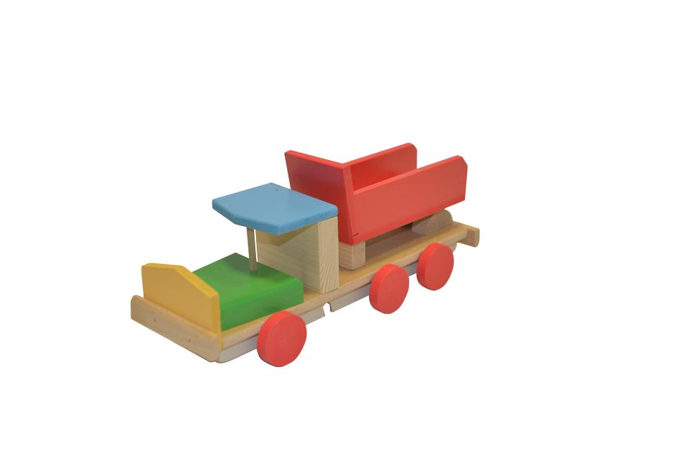 Mașinuță cu forme geometrice din lemn imagine edituradiana.ro
