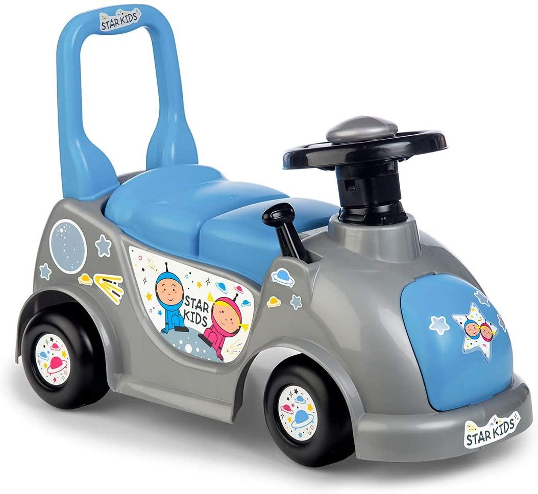 Mașinuță tip premergător cu spațiu de depozitare - Albastru imagine edituradiana.ro