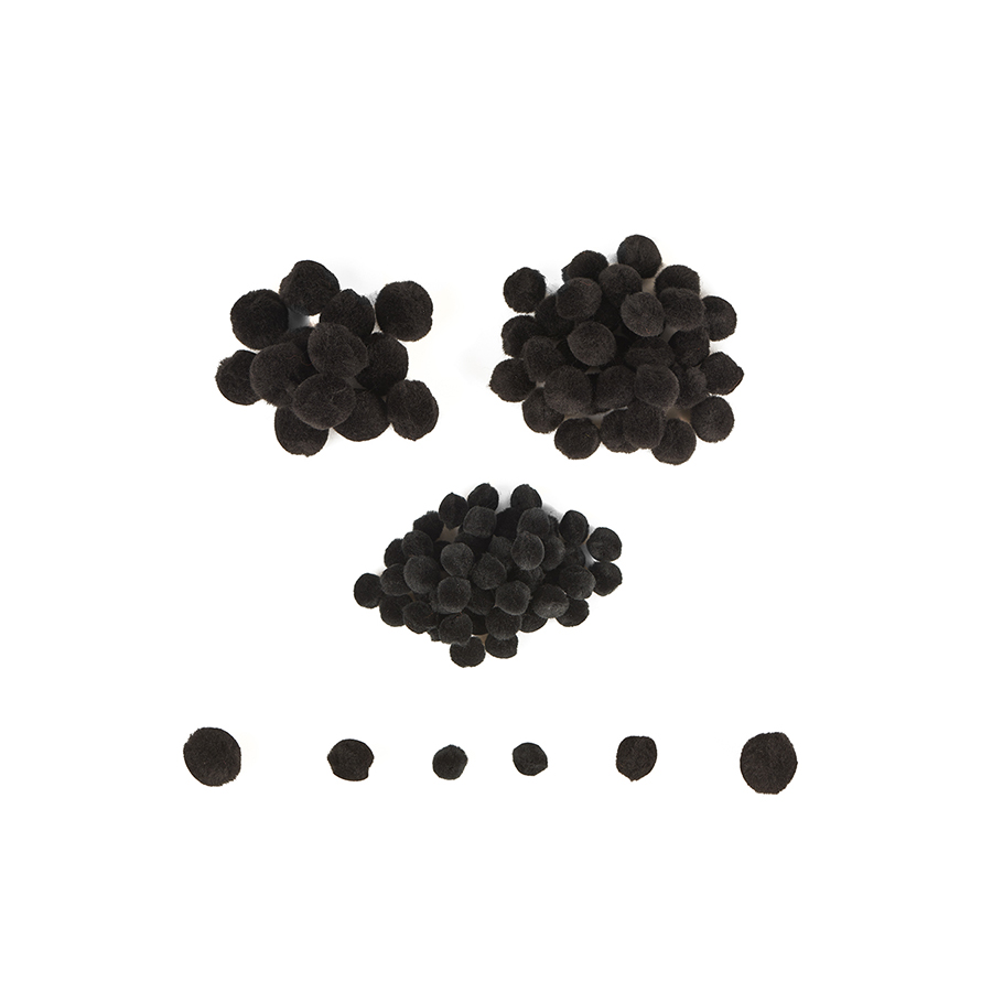 Mini pom-pom - 100 de piese - Negru imagine edituradiana.ro