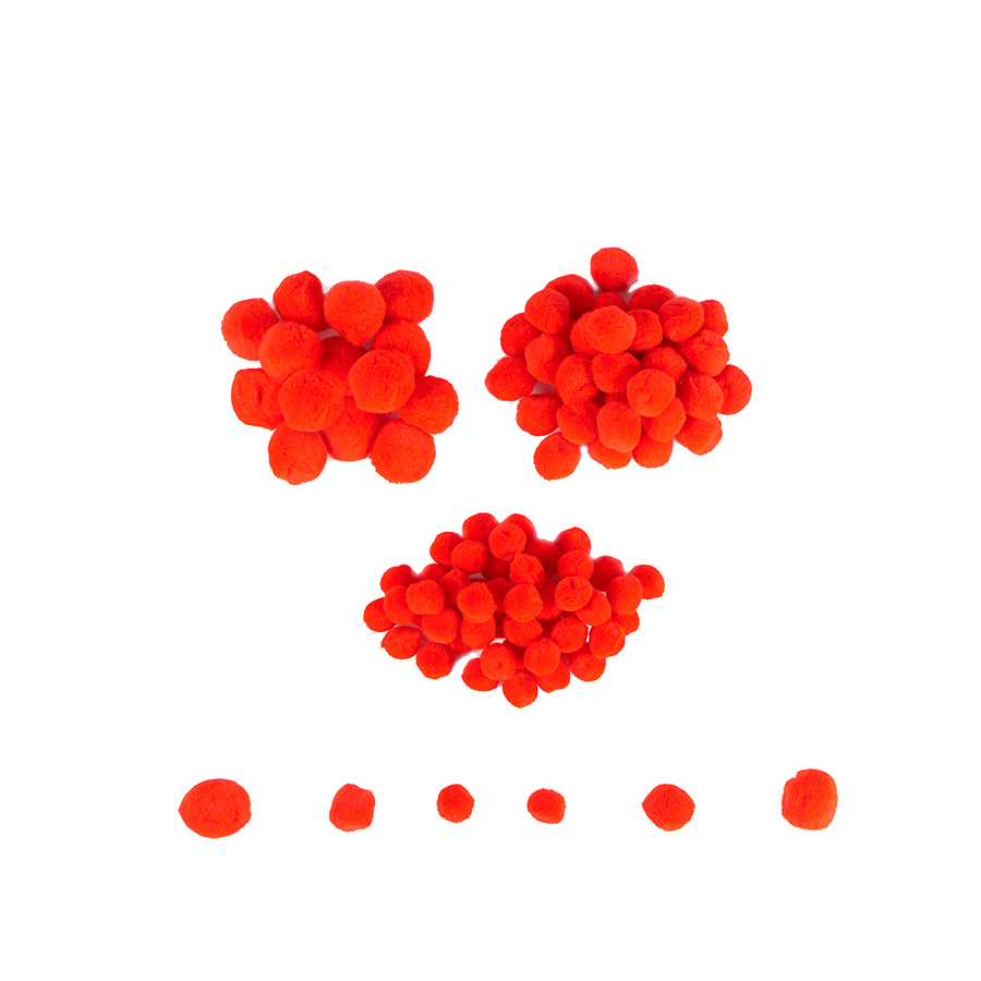 Mini pom-pom - 100 de piese - Roșu imagine edituradiana.ro
