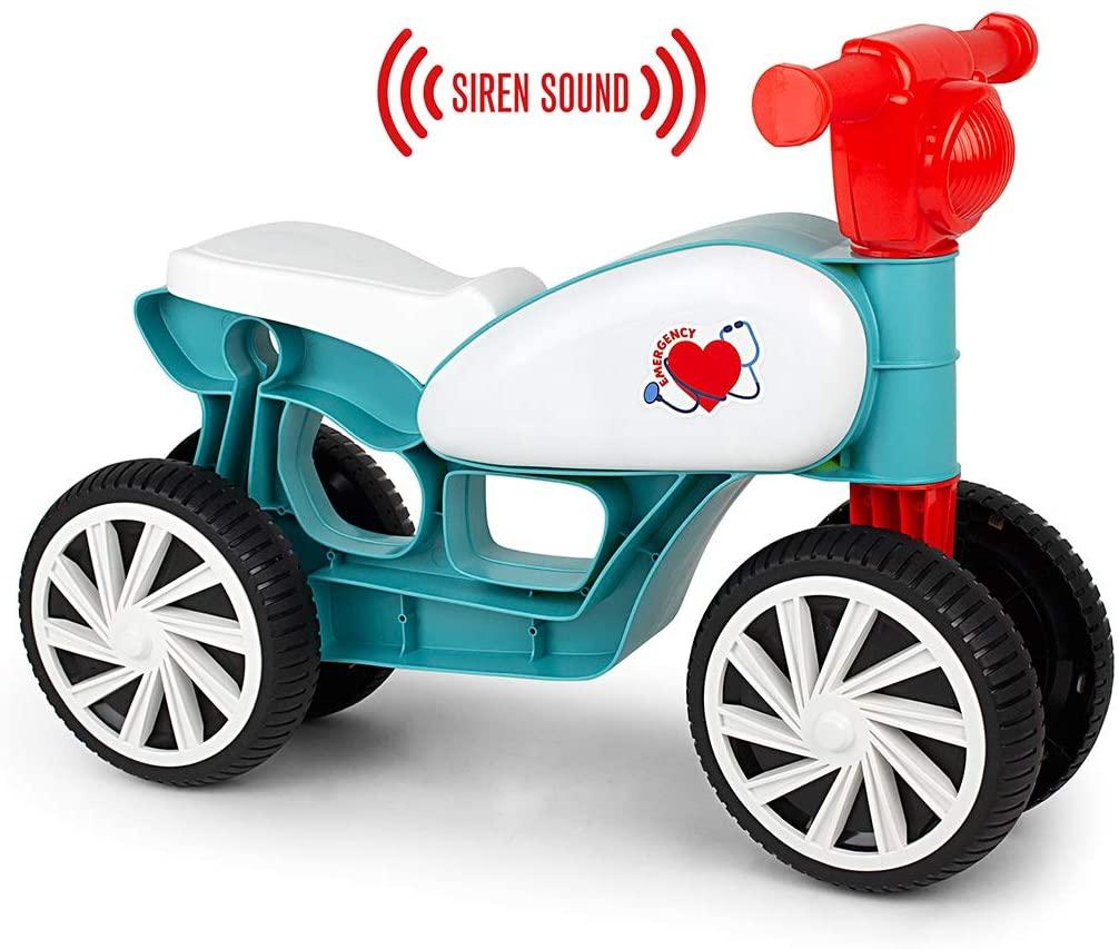 Mini bicicletă fără pedale, cu sunete (sirenă de urgență) și 4 roți - Turcoaz imagine edituradiana.ro