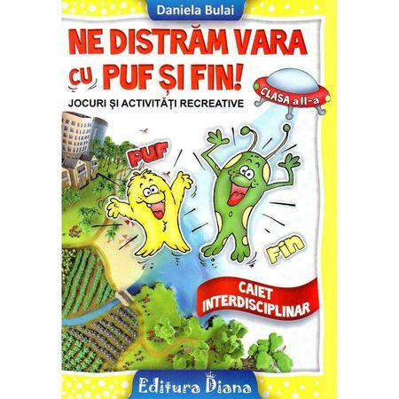 Caiet de vacanta clasa II a Ne distram vara cu Puf si Fin imagine edituradiana.ro