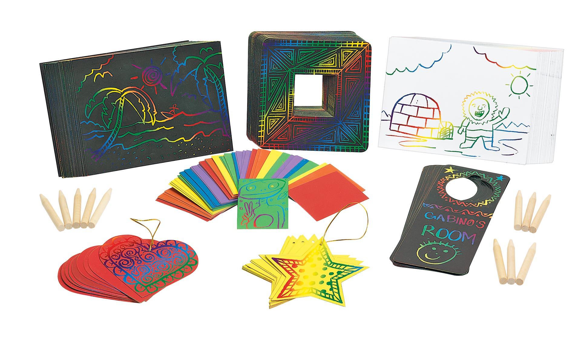 Pachet de 141 de carduri răzuibile și 25 de creioane din lemn pentru scratch design imagine edituradiana.ro