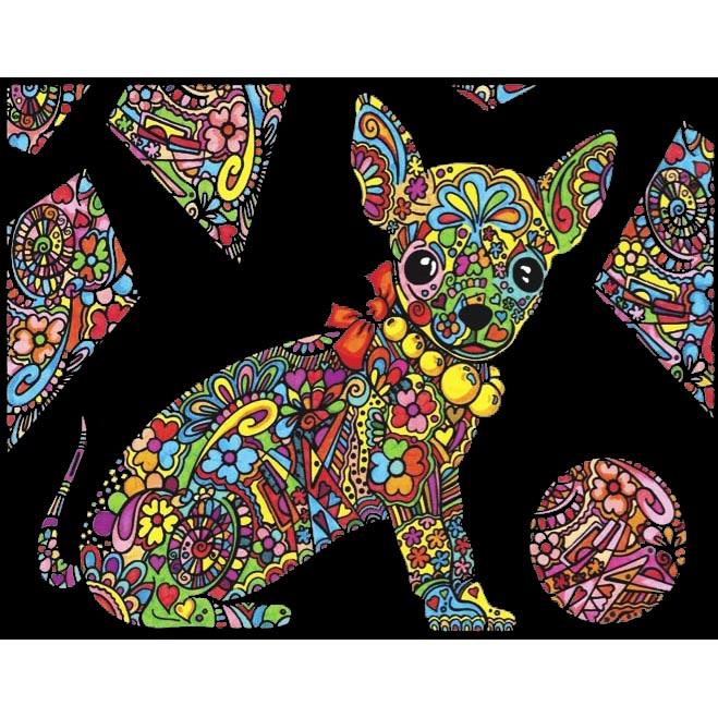 Planșă de colorat din catifea, cu 12 carioci – Cățel chihuahua (29,7 x 21 cm) imagine edituradiana.ro