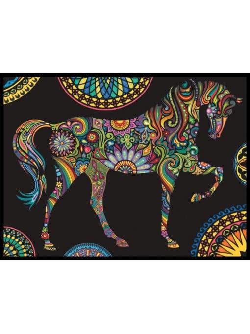 Planșă de colorat din catifea, cu 36 carioci – Mandala cal (70 x 50 cm) imagine edituradiana.ro