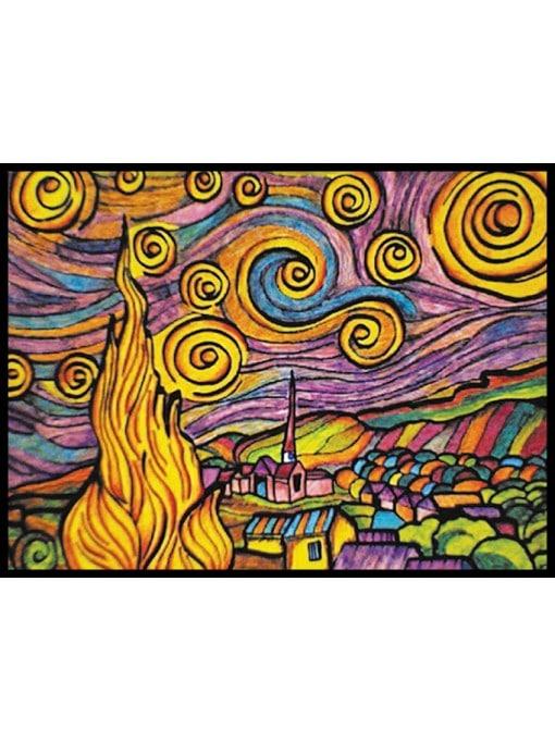 Planșă de colorat din catifea, cu 36 carioci – Noapte înstelată (Van Gogh), 70 x 50 cm imagine edituradiana.ro