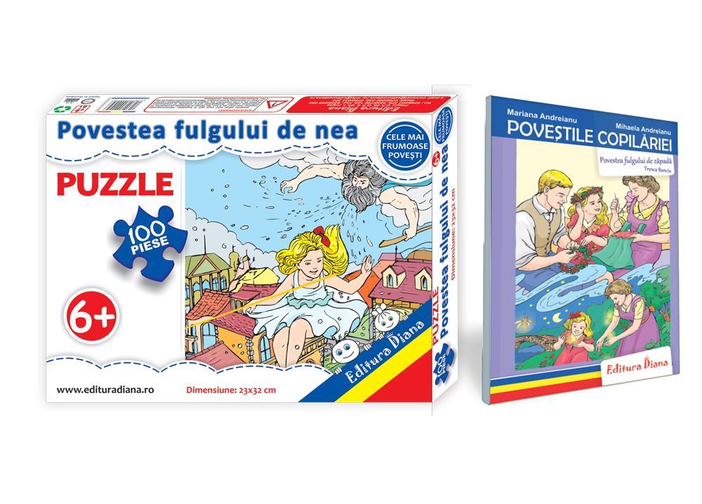 Povestea fulgului de nea - Set Puzzle + Carte tip acordeon imagine edituradiana.ro