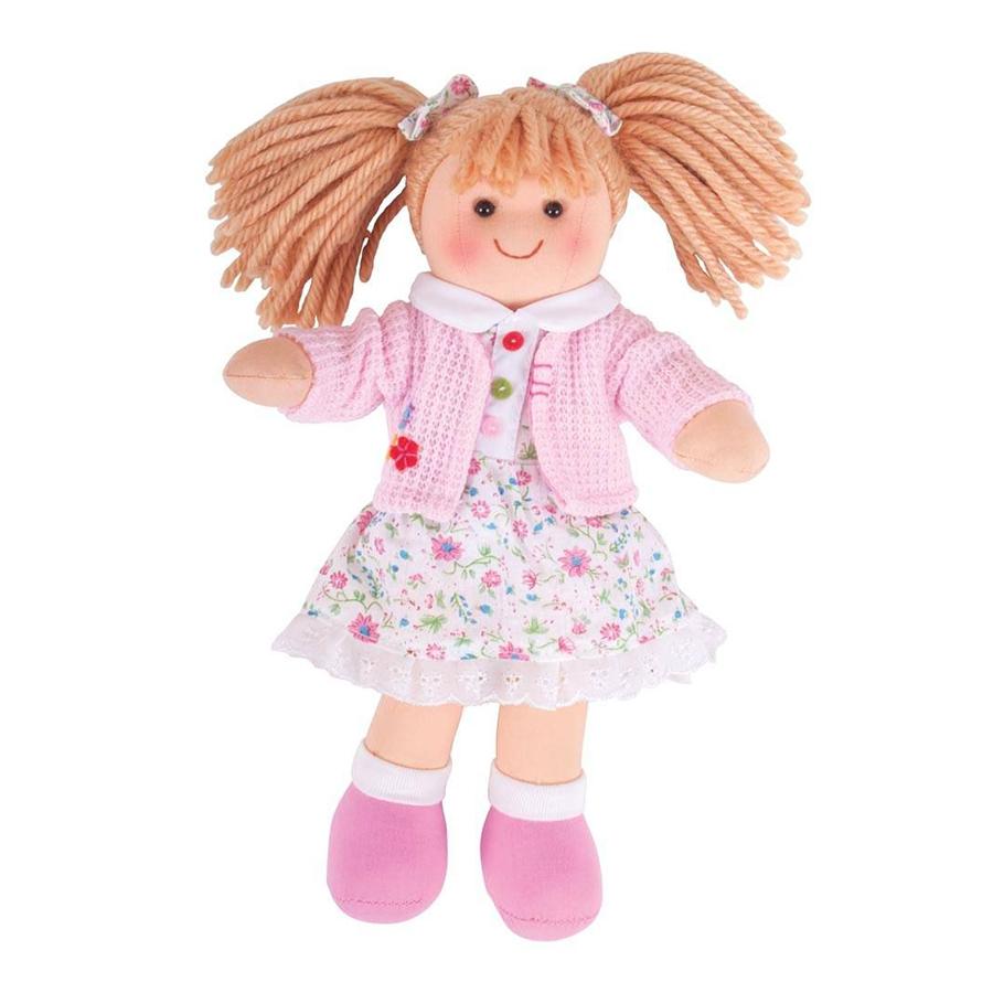Păpușa Poppy (28 cm) cu păr blond, rochiță înflorată și cardigan roz imagine edituradiana.ro