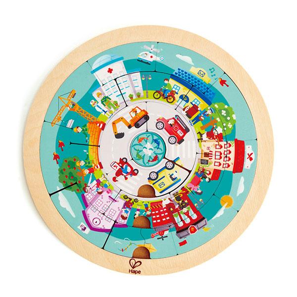 Puzzle circular din lemn, cu două fețe - Profesii imagine edituradiana.ro