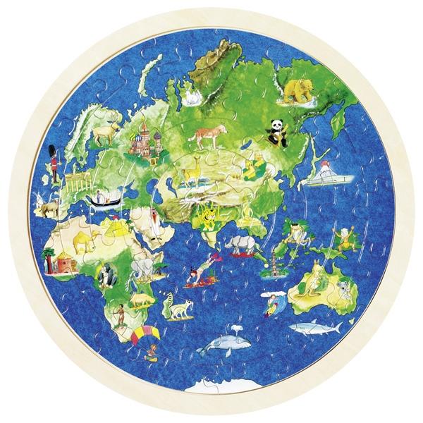 Puzzle circular din lemn - Harta lumii cu animale imagine edituradiana.ro