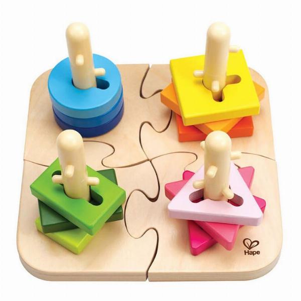 Puzzle creativ din lemn cu diverse forme geometrice imagine edituradiana.ro