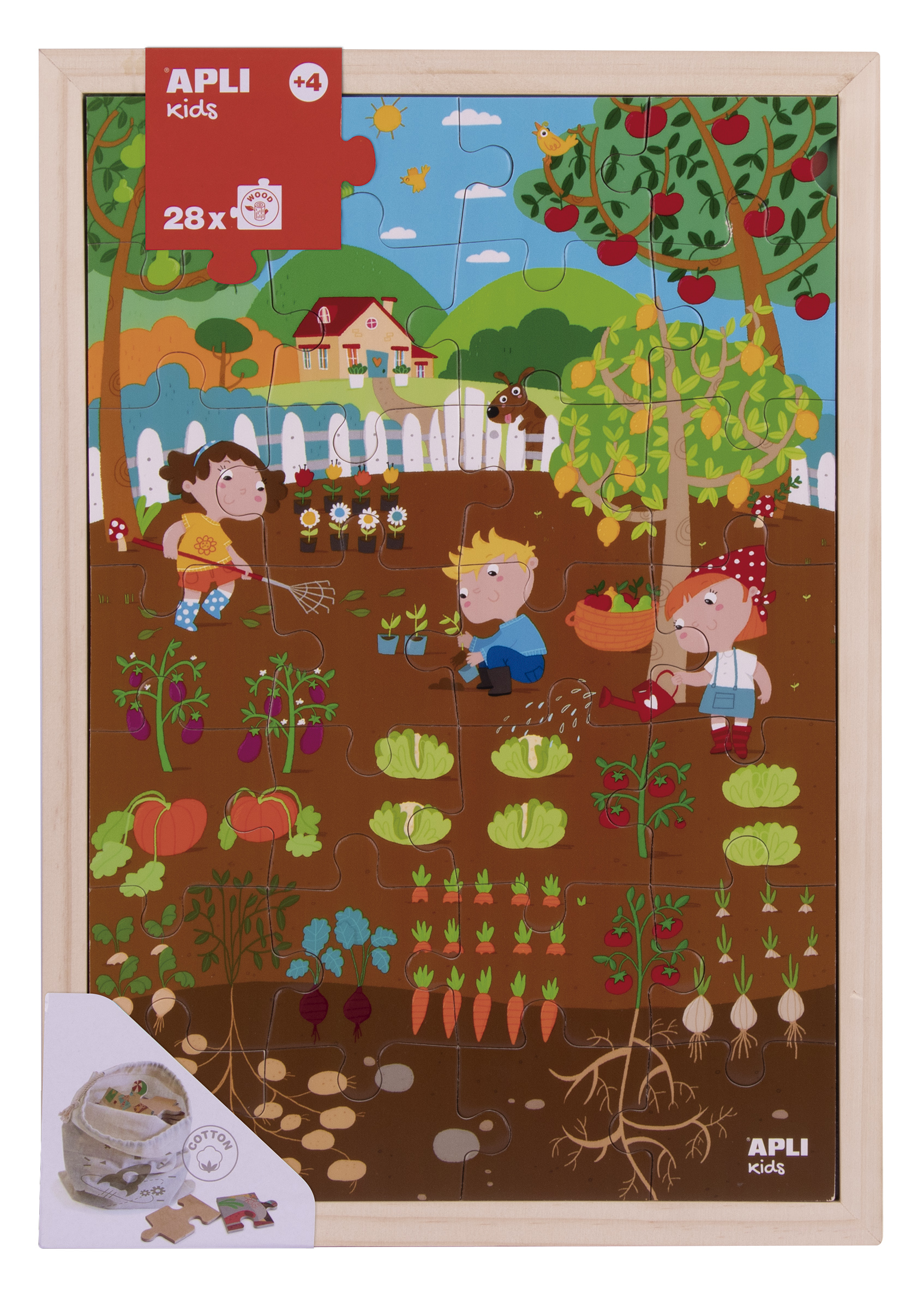 Puzzle cu 28 de piese din lemn - Grădina imagine edituradiana.ro
