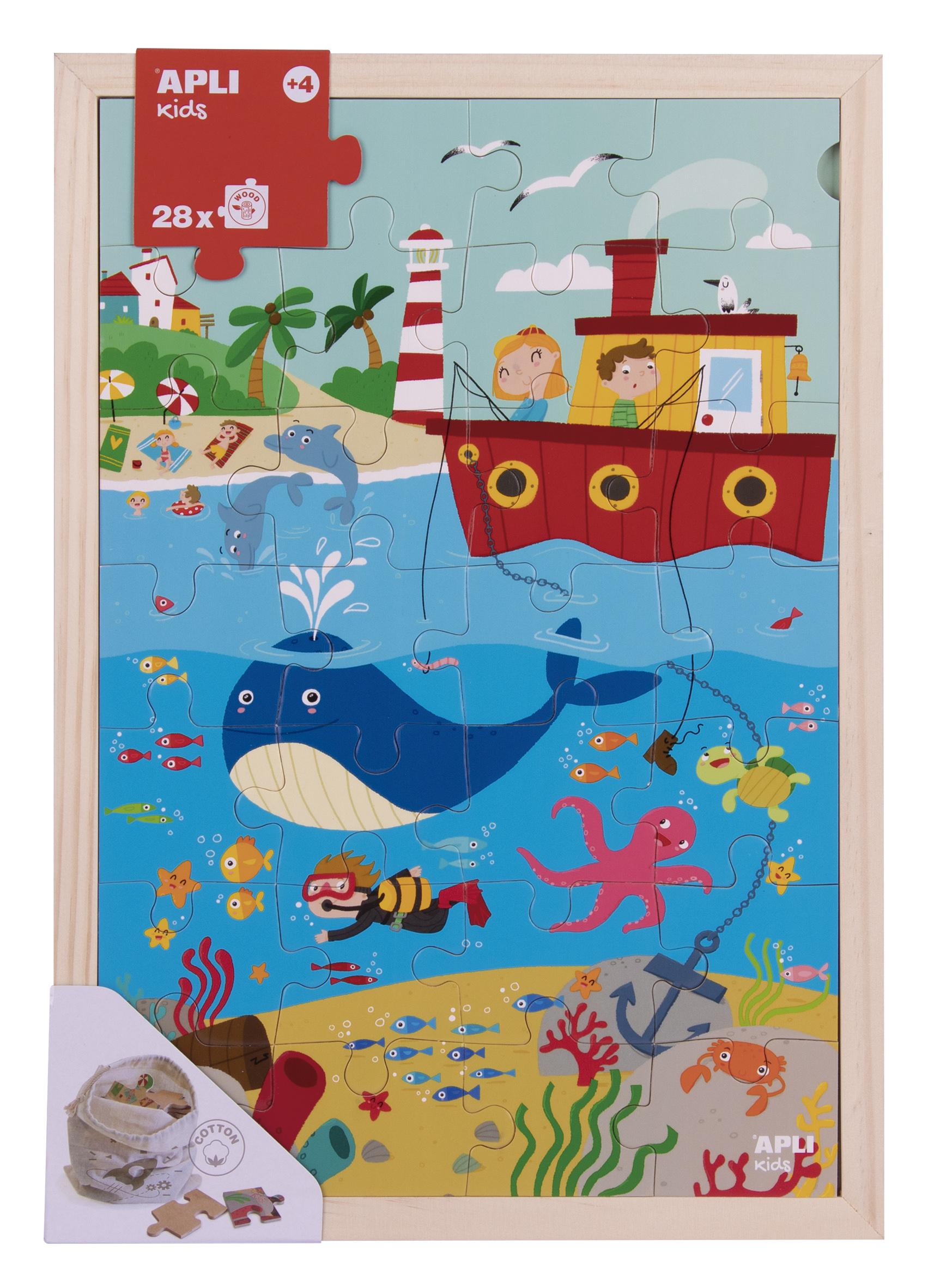 Puzzle cu 28 de piese din lemn - Oceanul imagine edituradiana.ro