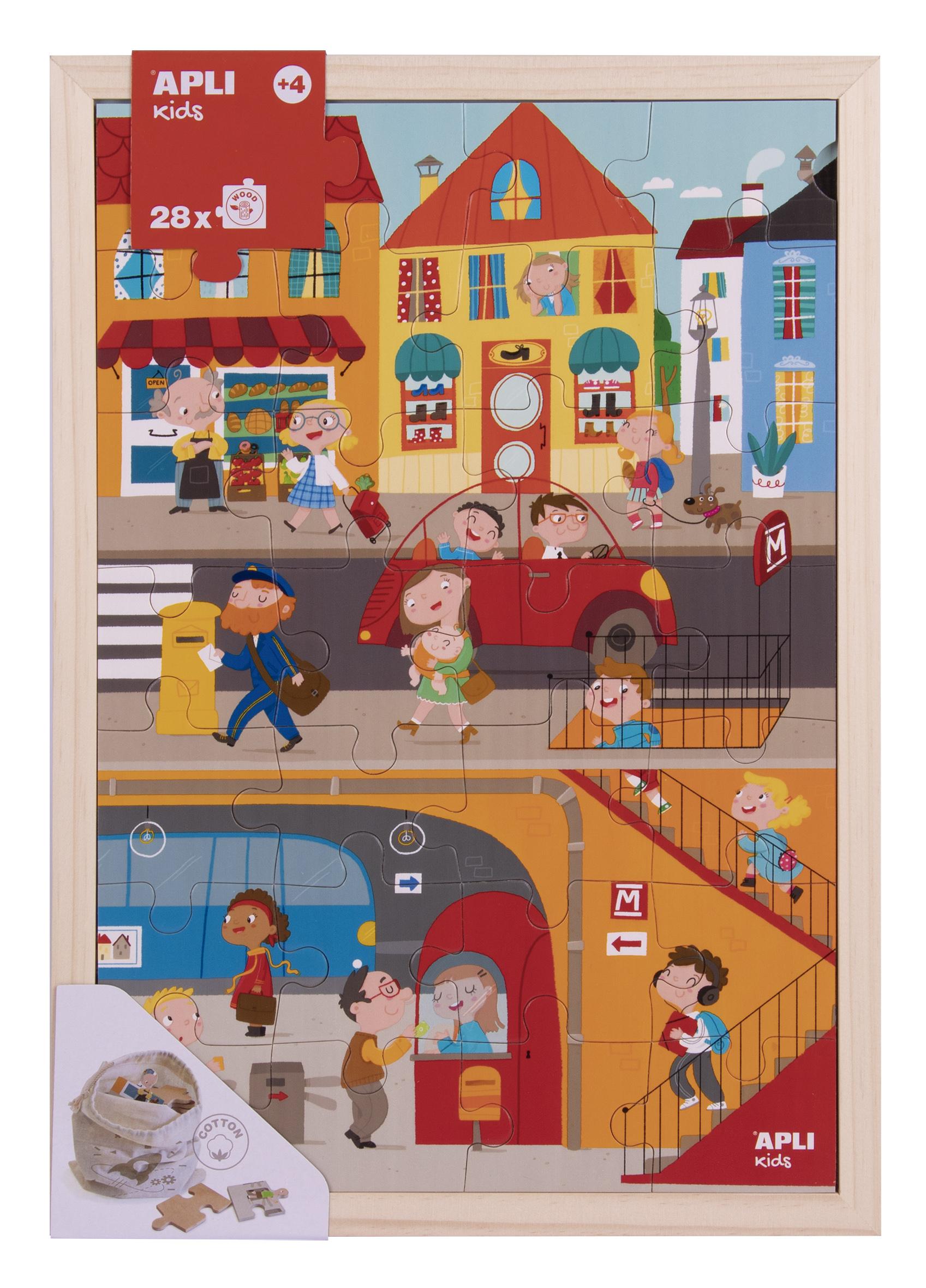 Puzzle cu 28 de piese din lemn - Orașul imagine edituradiana.ro