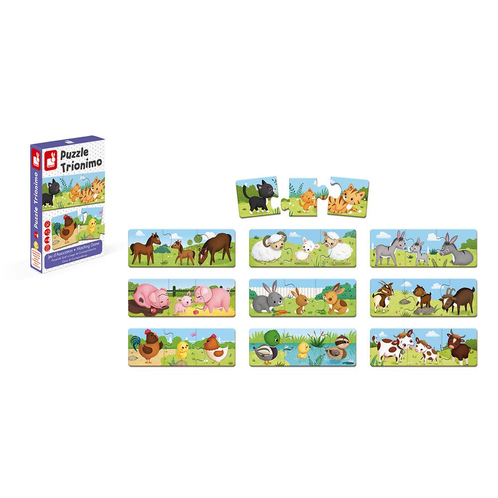 Puzzle de asociere cu 30 de piese din carton - Animale de la fermă și puii lor