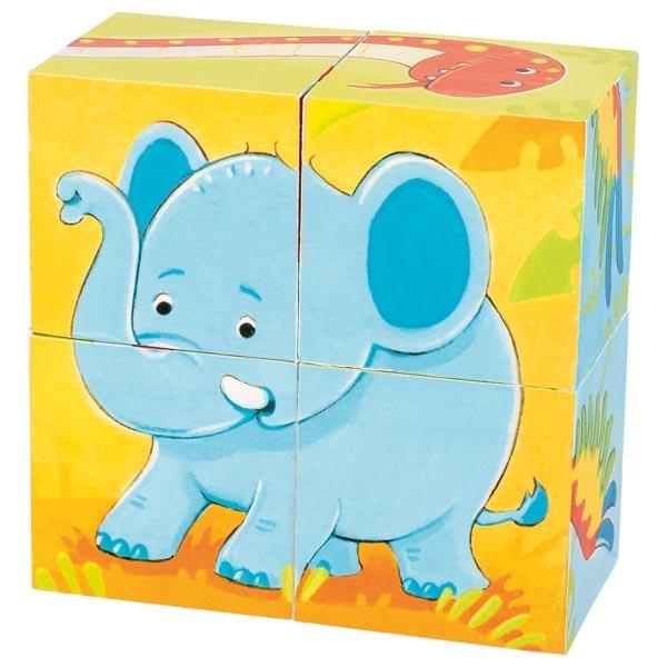 Puzzle din cuburi de lemn - Animale sălbatice imagine edituradiana.ro